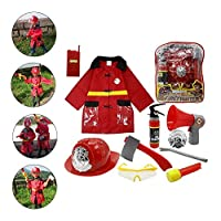 pegtopone Kids Fireman Gear 11pcs Firefighter Costume Role Play Dress Up Toy Set With Helmet And Accessories, Premium Washable Kids Fireman Costume Toy For Kids,Boys,Girls,Toddlers, And Children
