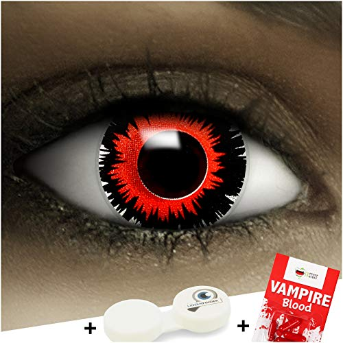 Farbige Kontaktlinsen ohne Stärke Brain Shock + Kunstblut Kapseln + Kontaktlinsenbehälter, weich ohne Sehstaerke in schwarz und rot, 1 Paar Linsen (2 Stück)