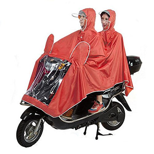 Haodasi Mask Type Double Poncho Hooded Imperméable Motocyclette Scooter Rainwear red
