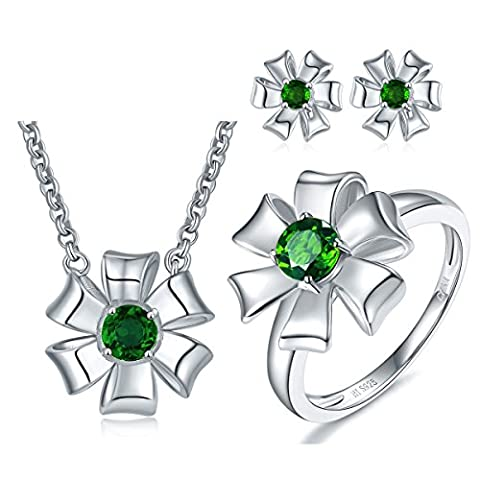 Hutang Solid 925 Sterling Silver 1.31ct Natural Gemstone Chrome Diopside Pendant & Earrings & Ring Fine Jewelry Sets For Women (P 1/2)