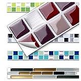7 Stück 25,3 x 3,7 cm rot beige silber Fliesenaufkleber Design 2 I Küche Bad Fliesendekor selbstklebend 3D Mosaik Aufkleber Wandora W1431