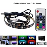 amiciKart® USB 5V Waterproof 5050 RGB LED Strip 2 Meters IP67, with RF Remote For TV Background