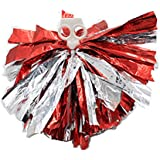 Dressing ANGTUO 2 PCS Team Sports Cheerleading Pom Poms match Pom plastique Anneau Hen Party(Rouge Argent)