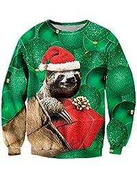 uideazone Unsiex Ugly Christmas Jumper 3D Gedruckt Weihnachten Pullover Sweatshirt Xmas Langarmshirt