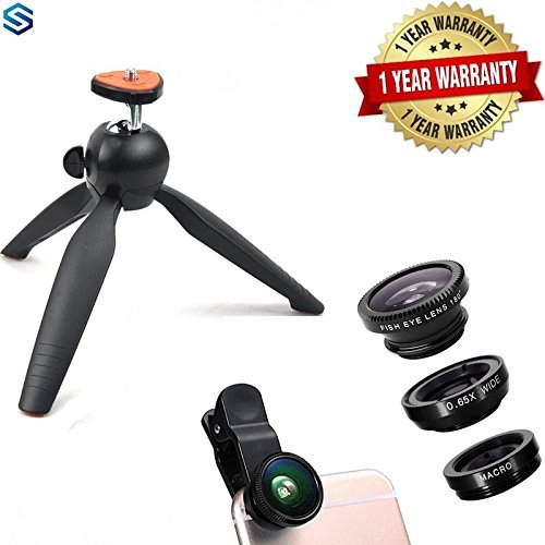 Wonderford Supreno 7-inch Mini Mobile Tripod with Universal 3-in-1 Camera Lens Kit