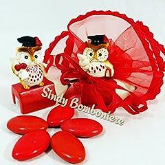 Idea Regalo - gufo laurea temperamatite con tocco laureato calamaio pergamena fai da te o con sacchetto e confetti rossi laurea (1 Bomboniera +1 sacchetto + confetti 2,50€)