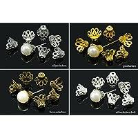 10x Perlenkappen Perlkappen Endkappen filigran Blumen für 16mm Perlen Metall DIY