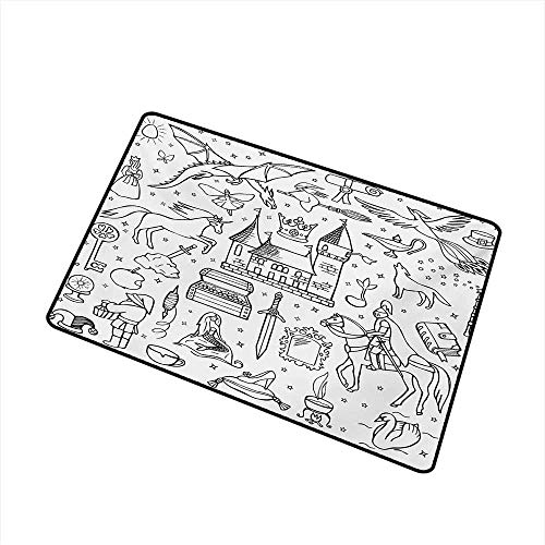 Fußmatte Prince Charming und Castle Pirncess Inspired Romance Drawing Knights und Dragons Catch Staub Schnee und Schlamm, Black White Bath Mat ()