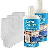 SANI WHITE + POWERSCHWAMM SET (7273) - 2x 500 ml SANI WHITE + 4x POWERSCHWAMM - Sanitärpolitur Badpolitur Politur Keramikreiniger Sanitärreiniger Waschbeckenreiniger Badewannenreiniger - ABACUS