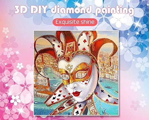Huaduo Diamant Embroidery5D DIY Diamant Malerei Cartoon Voll Bohrer Runde Bild Von Strass Diamant Mosaik Clown Maske,40X40cm