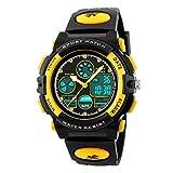 BesWLZ Jungen Uhren Multifunktions Dual Time Digital Uhren Alarm Sport wasserdicht Kinder Uhren (Yellow)