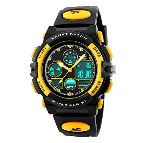 BesWLZ Kinder und Jugendliche Uhr Digital Quarz mit Plastik Armband Wasserdicht Alarm Stoppuhr Gelb