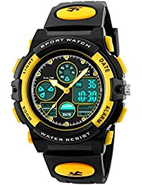 BesWLZ Garçons Montres Multifonctions Montres Dual Time Numérique Alarme Sport Imperméable Kids Montres jaune