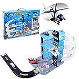 Foxom Parkgarage für Kinder, 4 Ebenen Parkhaus Parkgarage mit 4 Spielzeugautos und 1 Helikopter, Autogarage Spielzeug für Kinder ab 3 Jahren
