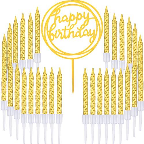 Boao 50 Stücke Gold Spiral Kuchen Kerzen und Alles Gute zum Geburtstag Kuchen Topper für Torten Dekoration Liferungen, 51 Stücke Total (Kuchen Kreise Gold)