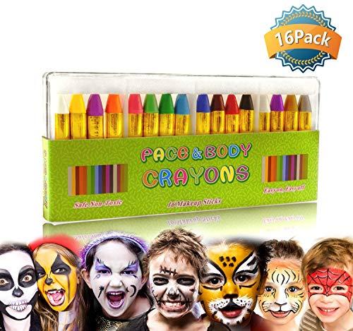 Orange Crayon Halloween Kostüm - GiBot Schminkstifte 16 Farben Halloween Schminkpalette