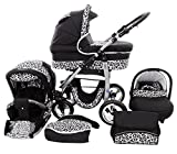 Chilly Kids Dino 3 in 1 Kinderwagen Set (Autosit & Adapter, Regenschutz, Moskitonetz, Schwenkräder) 27 Schwarz & Snow Leopard