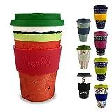 Morgenheld ☀ Dein trendiger Bambusbecher | umweltfreundlicher Coffee-to-Go-Becher | nachhaltiger Kaffeebecher mit Silikondeckel und Banderole in coolem Design 400 ml Füllmenge (Melon)