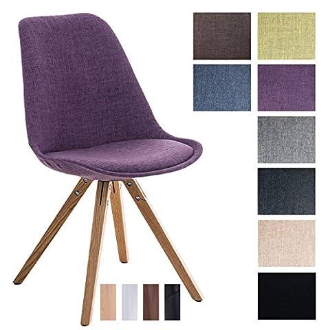 CLP Design Retro Stuhl PEGLEG SQUARE, Stoffbezug, Schalenstuhl, gepolstert, Sitzhöhe 46 cm Lila, Holzgestell Farbe natura, Bein-Form (Stühle Lila)