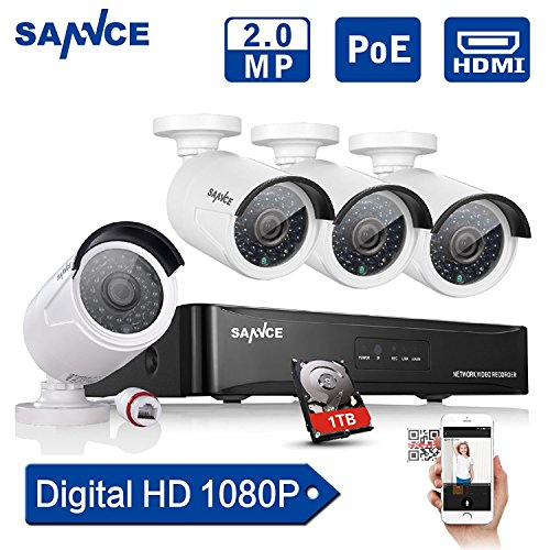 [Updated 1920*1080p] Sannce® 4CH 1080P PoE NVR HD Surveillance Kit w/ 4 1080P 2.0 Megapixels Indoor/ Outdoor Night Vision Security Camera System+ 1TB 3.5 Inch SATA Surveillance HDD (Power Over Ethernet, e-Cloud, Smartphone Scan QR Code Quick Remote Access)