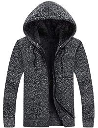 Oplon Herren Winter Strickjacke Große Größe Cardigan Grobstrick Feinstrick  Dicke Wärmende Jacke mit Reißverschluss ... 20f408c01b