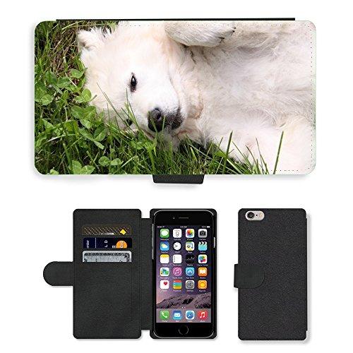 Just Mobile pour Hot Style Téléphone portable étui portefeuille en cuir PU avec fente pour carte//m00139411Blanc pour Chien Berger Play//Apple iPhone 6Plus 14cm