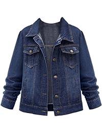 Chaquetas Jacket De Mezclilla Abrigo Denim Jacket Tamaño Grande Con Solapa Manga Larga Para Mujer Azul 4XL