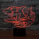 Veilleuse 3D Led 7 Couleurs Creative Shark Surf Modélisateurs De Bureau Lampe Lampe Usb Nuit Lumière Chambre Chevet Décoration Animale Enfants Cadeau