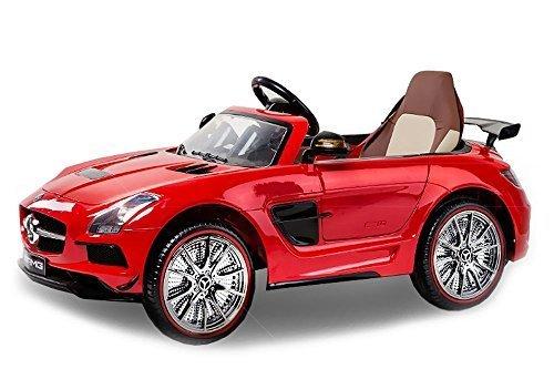 Lizenz Kinderauto Mercedes - Benz SLS AMG 2 x 25W 12V MP3 RC Elektroauto Kinderfahrzeug Ferngesteuert Elektro Auto (Rot)