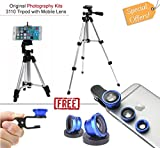 #4: Piqancy Tripod Stand with 3-Way Head Cellphone Holder + 360 Ball for DSLR Camera and Mobile Phone Clip Lens (3110 Tripod And Clip Lens)
