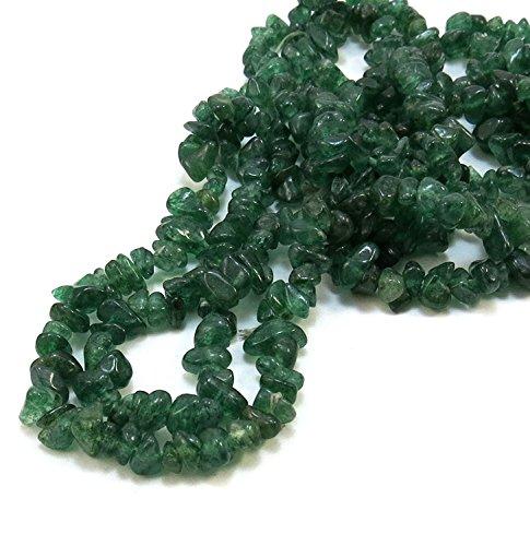 Mughal Gems & Jewellery Dark Green Color Natural Indian Aventurine Gemstone Uncut Chip Beads 1 Lines Loose 33 inch Strand - Dark Green-chip