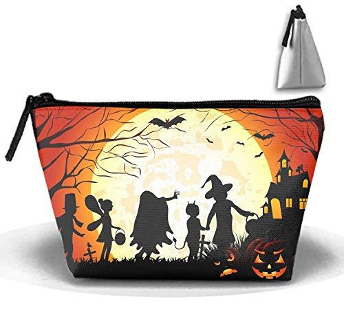 Halloween Silhouette Beach Travel Makeup Bag Multifunction Storage Organizer for Women