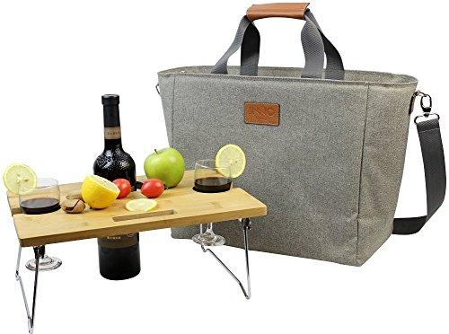 INNO STAGE 40L Große, isolierte Kühltasche, XL Tragbare Wein-Tragetasche Picknick-Kühltasche mit tragbarem Bambus-Wein-Snack-Tisch - Beige mit 2 Positionen MEHRWEG (Wein Tragetaschen)
