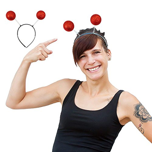 Rot Kostüm Glitzer - Oblique Unique® Haarreifen Rote Glitter Glitzer Antenne Kugeln I Kostüm Accessoire I Headbands Hats Caps & Headwear
