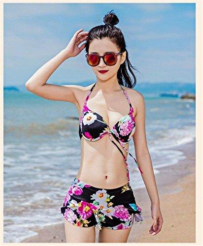 KLDDZQ Badeanzüge Damen Stirnband Bikinis Floral Gerüscht Druck, White, l -