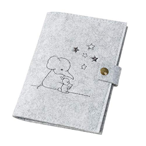 Hülle für Kindle \'Elefant, Hase & Sterne\' aus Filz, hellgrau (Farbe wählbar) | Schutzhülle eReader eBook Reader Hüllen für Kindle Hülle bis 6 Zoll (15cm) für z.B. Kindle Paperwhite