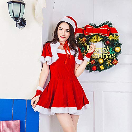 Yunfeng weihnachtsmann kostüm Damen Weihnachten Kostüm Adult Christmas Bunny Girl sexy cos Abschlussball Santa Kleidung KTV Leistung Kostüm Kostüm Erwachsene Weihnachtsfeier Cosplay Kostüm (Sexy Santa Girl Kostüm)