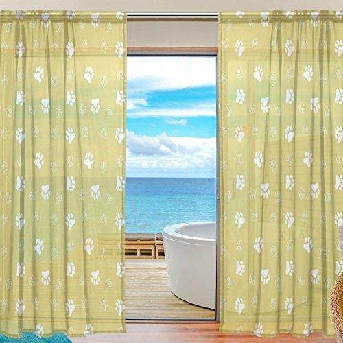yibaihe Fenster Vorhänge, Gardinen Platten Fenster Behandlung Set Voile Drapes Tüll Vorhänge Cute Dog Paw Print 140 W x 198cm L 2Einsätze für Wohnzimmer Schlafzimmer Girl 's Room -