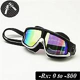 Myopie lunettes de natation lunettes de sport masques de plongée optique tuba apnée sous-marine anti-Fog bouchons d'oreille(Noir/argent, Force -500)