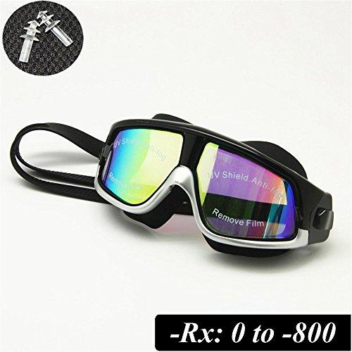 EnzoDate RX Brille Brille Myopie optische Korrektur Schnorchel Maske Free Ear Stecker (schwarz/Silber, Stärke -150)