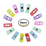 60PCS Clips Pinces en Plastique pour Reliure Tricot Couture Artisanat Couleurs Assorties