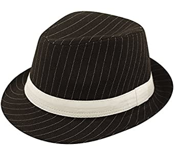 Ladies Mens Adult Gangster Gangsta Bugsy Malone Black/White Pinstripe Trilby Fancy Dress Hat