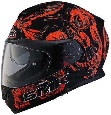 SMK Twister Designer Full Face Helmet with SKULL Graphic (MA270) WITH PLAIN VISOR, MATT Black with ORANGE M SIZE