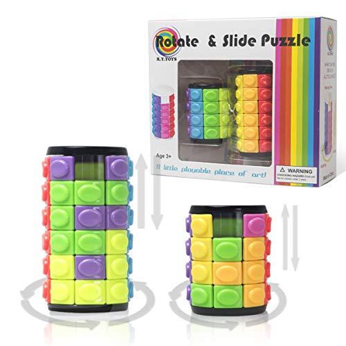 R.Y.TOYS Cylinder Puzzle Magic Puzzle pour Adultes Cube Jeux de Magie pour Enfants Jeux de Puzzle Portables Jeux de Puzzle coulissants pour Enfants Puzzle en 3D pour Tout-Petits 5000B (2Pack)