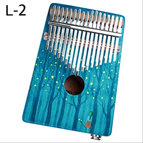 Xjwq Daumen Klavier 17 Tasten Kalimba Daumen Klavier Hochwertige Holz Mahagoni Körper Daumen Klavier Musikinstrument Kalimba Zubehör Mit Audio-Eingang Blau2