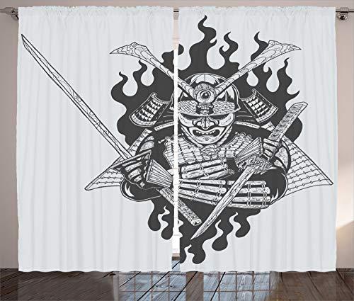 Japanisch Orientalisch Stoff (ABAKUHAUS japanisch Rustikaler Vorhang, Ghost Ninja Feuer orientalisch, Wohnzimmer Universalband Gardinen mit Schlaufen und Haken, 280 x 260 cm, Schwarz Weiss)