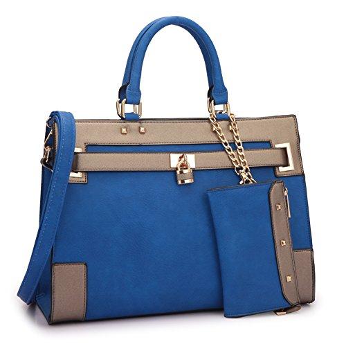 Damen Handtaschen, Aktentaschen, Tragegriff, Schultertasche, Vorhängeschloss, Designer-Geldbörse mit passendem Geldbeutel, Blau - Royal Blue/Pewter - Größe: Medium -