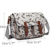 Miss Lulu Messenger Bag School Satchel Bookbag Oilcloth Bird Flower Cross-body Bags Handbag (1107-16J grey)