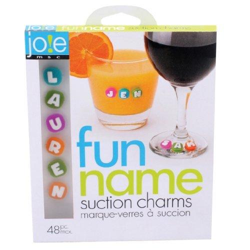 MSC 26737 Joie Fun Name Saugnapf Drink Wine, Set 48 Teile, Garten, Rasen, Instandhaltung Spaß Wein Charms