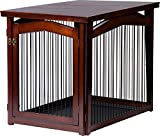 dobar 35247 Multifunktion Hundekäfig mit Tischoberfläche, Absperrung-Gatter aus Holz für innen, Hundebox Indoor klappbar, 101 x 71 x 80 cm, L, Braun